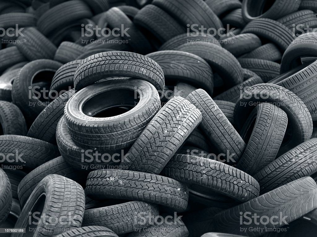 Old black car tire rubber stock photo