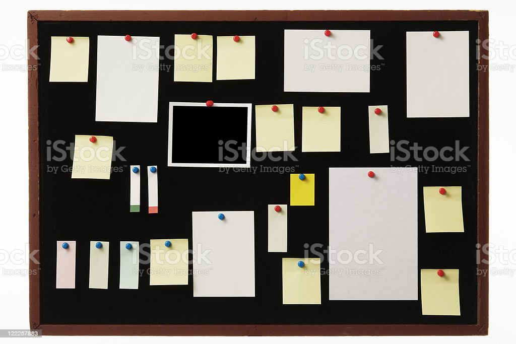 Old black felt bulletin board assorted blank papers royalty-free stock photo