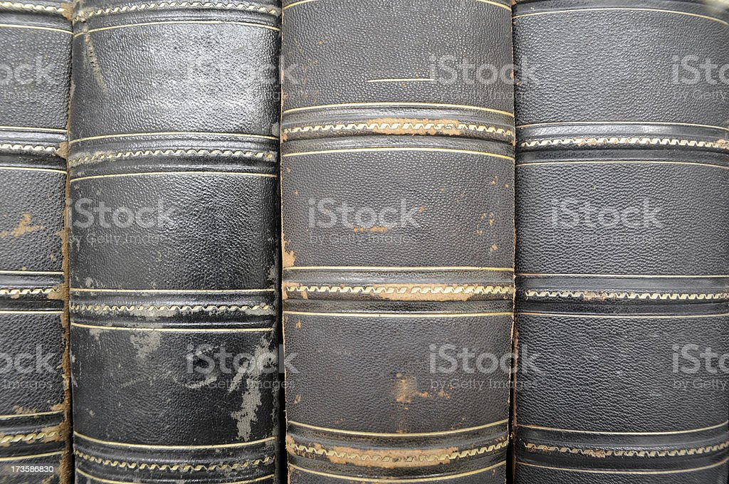 old black leather book spine royalty-free stock photo