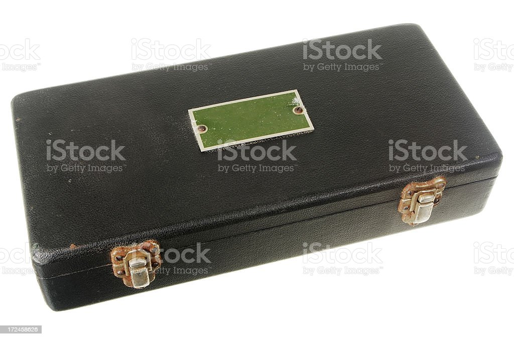 Old Black Leatherette Covered Instrument Box isolated On White royalty-free stock photo