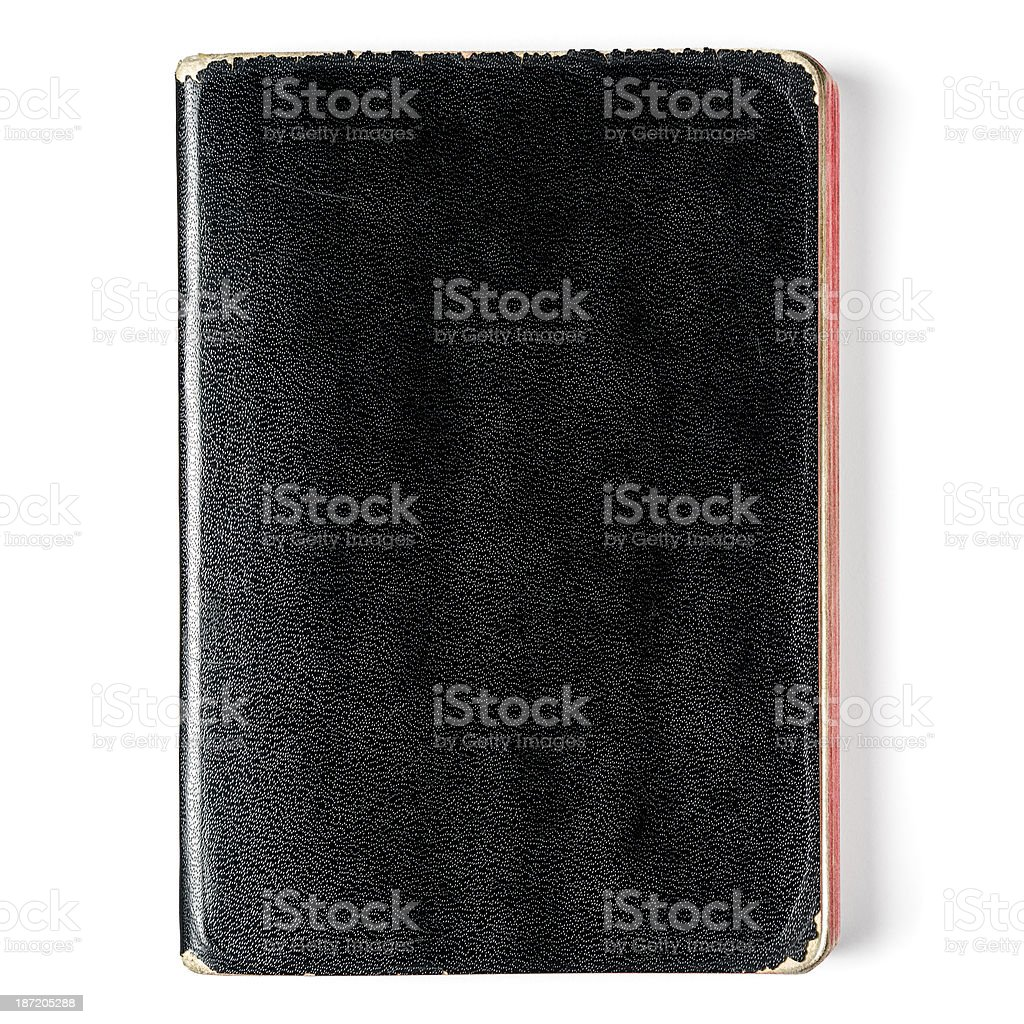 Old black notebook on white royalty-free stock photo