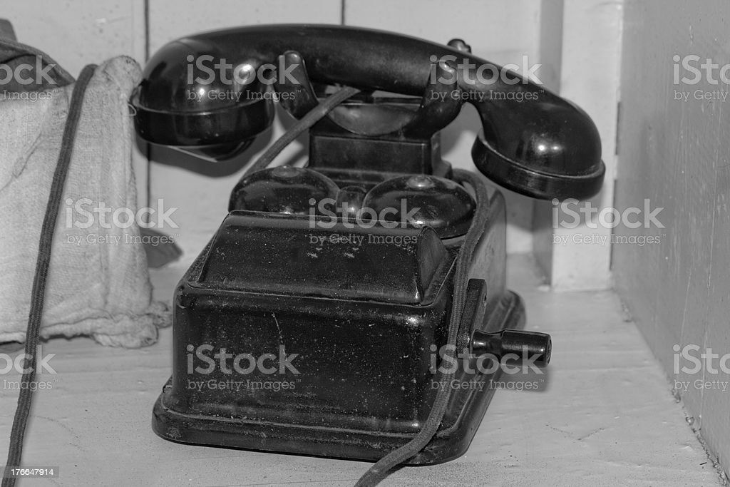 Old black phone with roll bw royalty-free stock photo