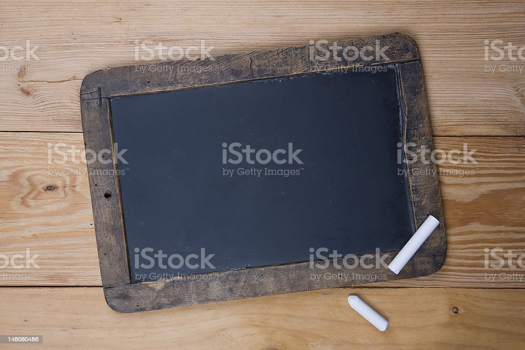 Old blackboard and chalk royalty-free stock photo