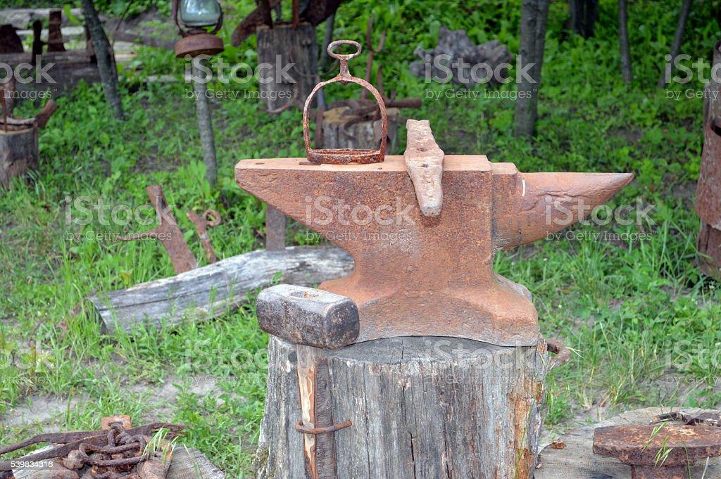 old blacksmith anvil stock photo