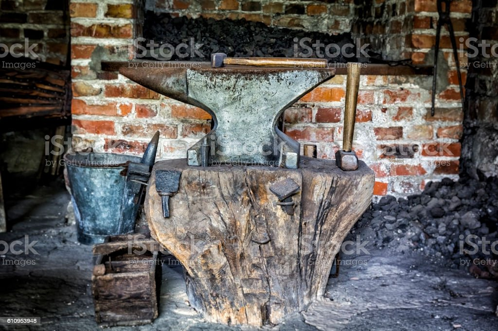 Old blacksmith workshop stock photo