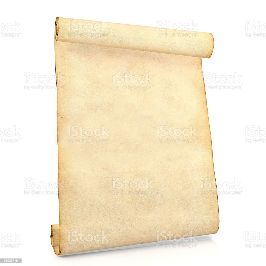 Old blank antique scroll paper isolated on white background stock photo