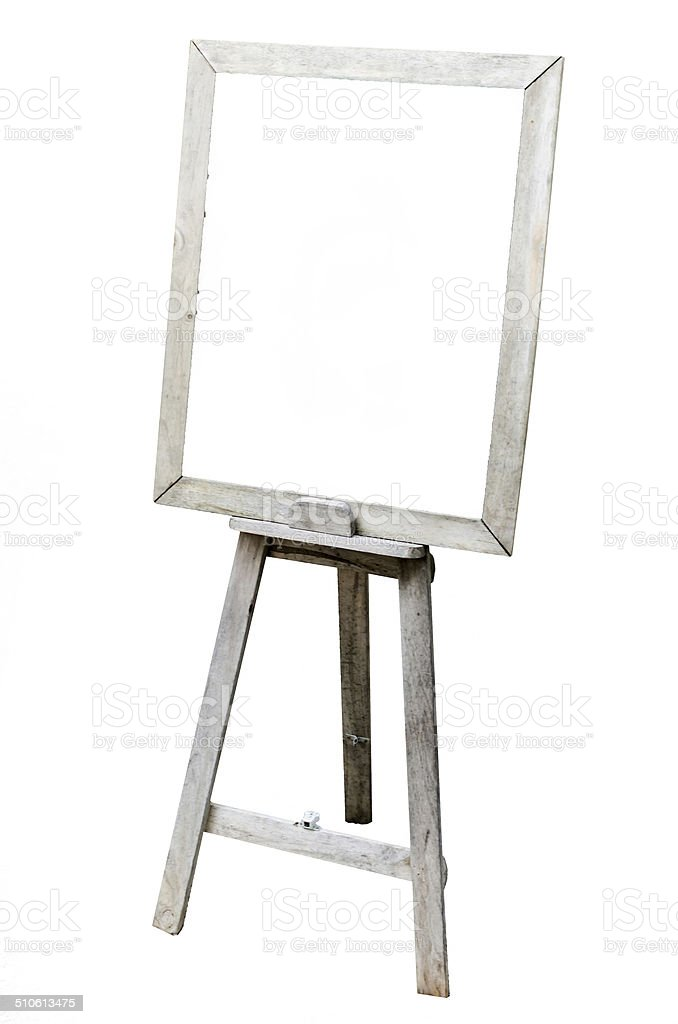 OLd Blank art board, wooden easel, side view stock photo