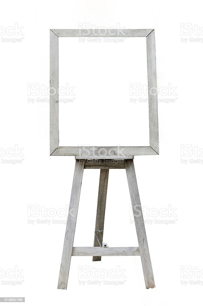 Old  Blank art wood board, wooden easel, front view stock photo