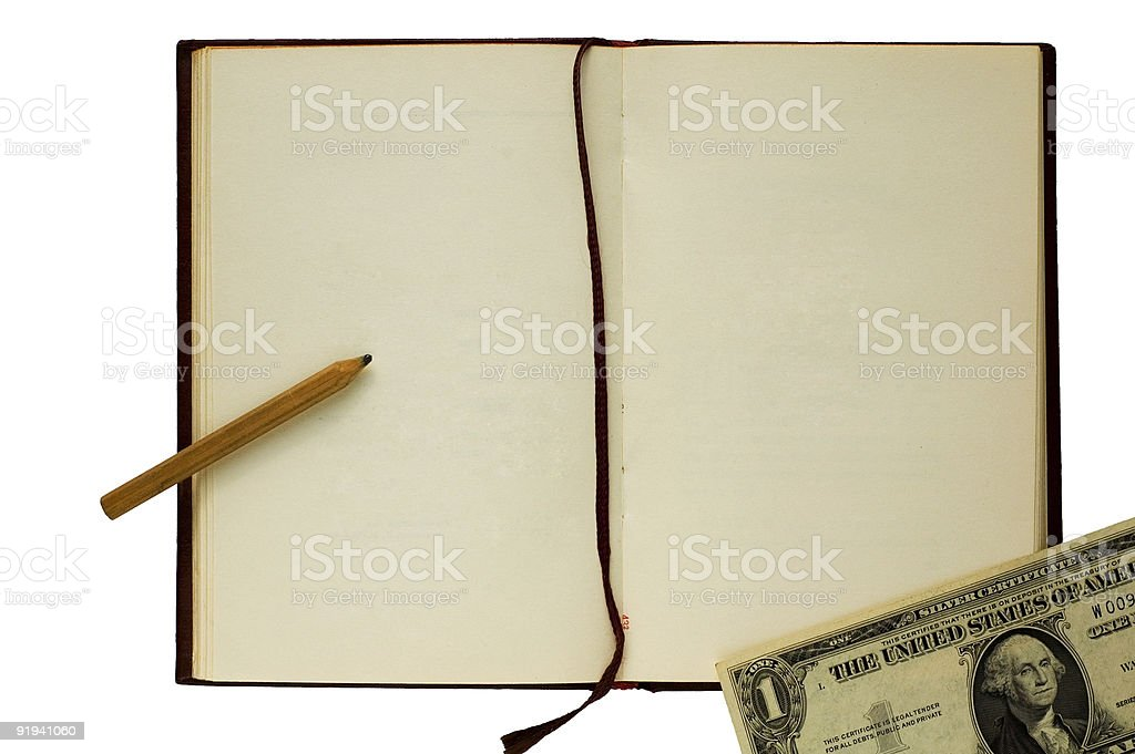 Old blank book with pencil and dollar on white background royalty-free stock photo