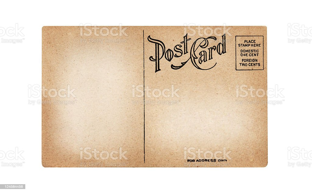 Old, Blank, Foreign Postcard with Copy Space stock photo