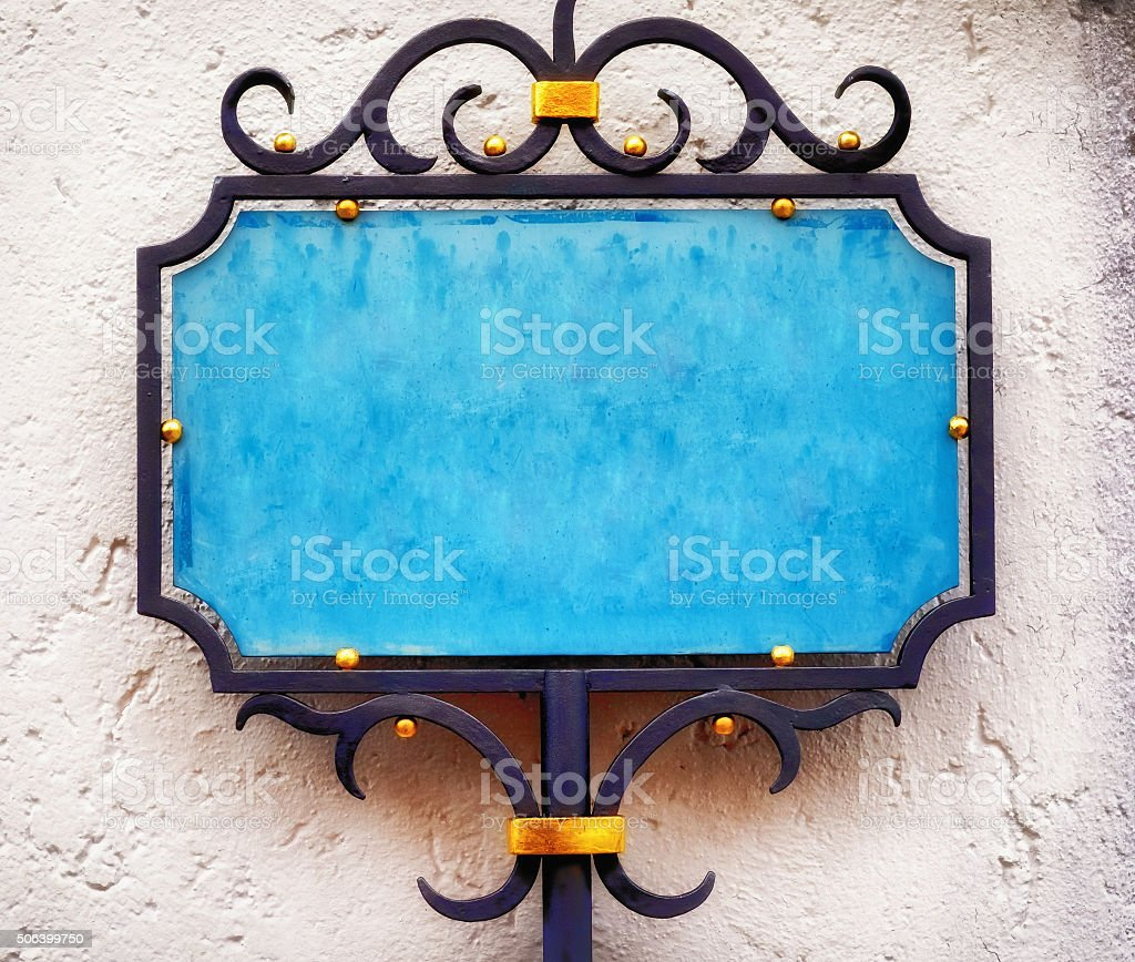 old blank metal sign stock photo