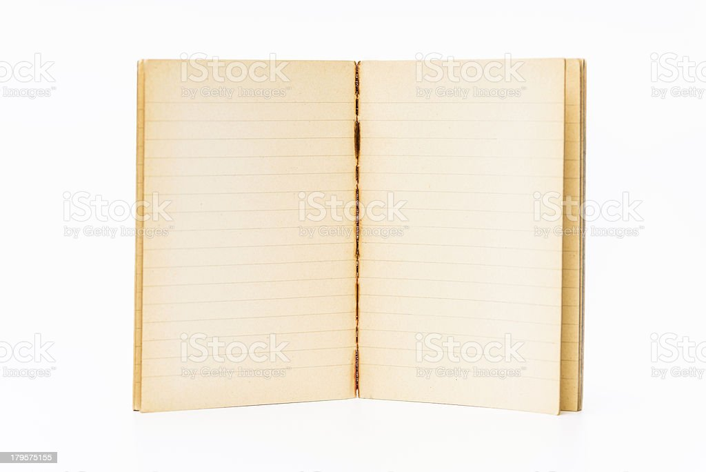 Old blank notebook on white royalty-free stock photo