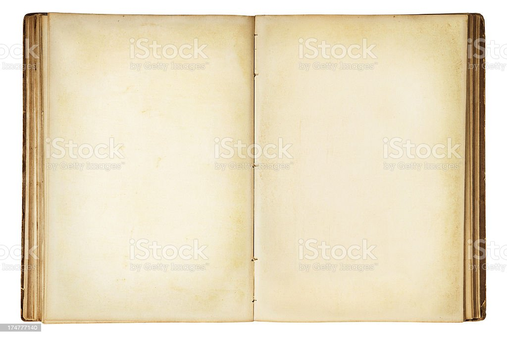 Old Blank Open Book stock photo
