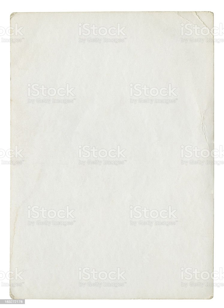 Old blank paper (isolated clipping path included) stock photo