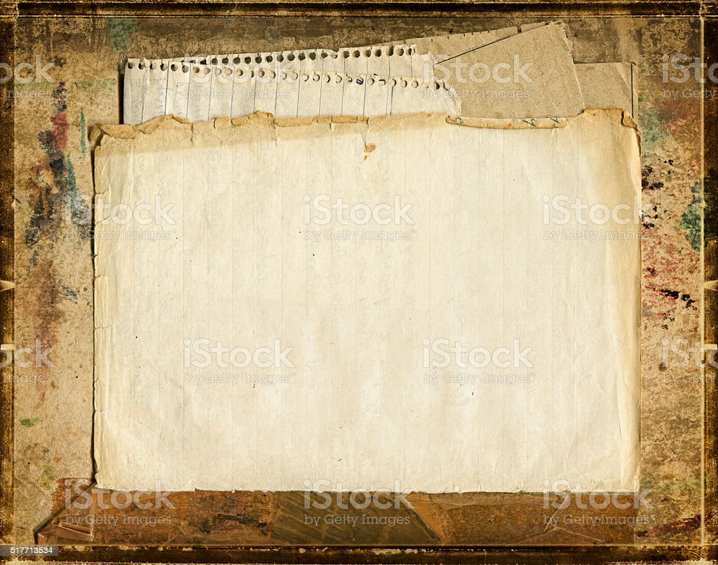 Old blank papers on grunge cardboard stock photo