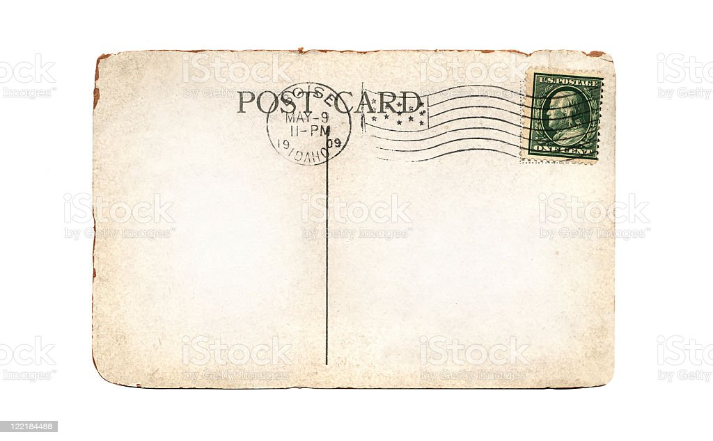 Old, Blank Postcard with Copy Space stock photo