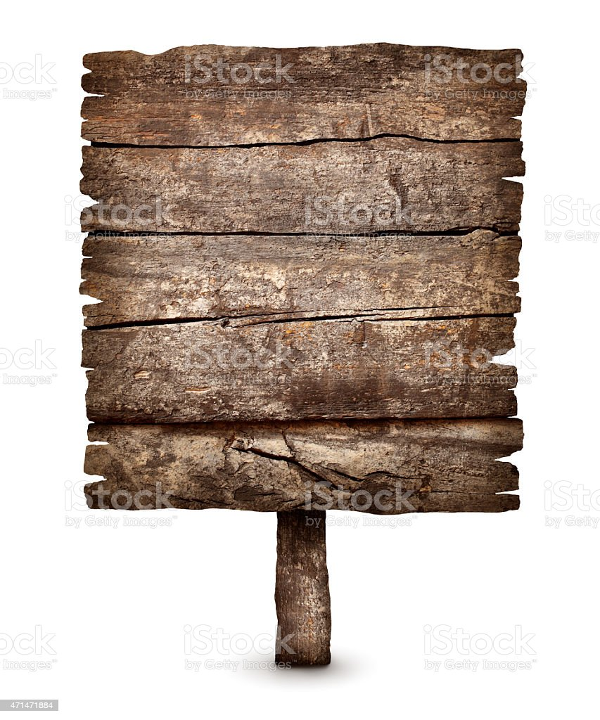 Old blank weathered wooden board sign stock photo