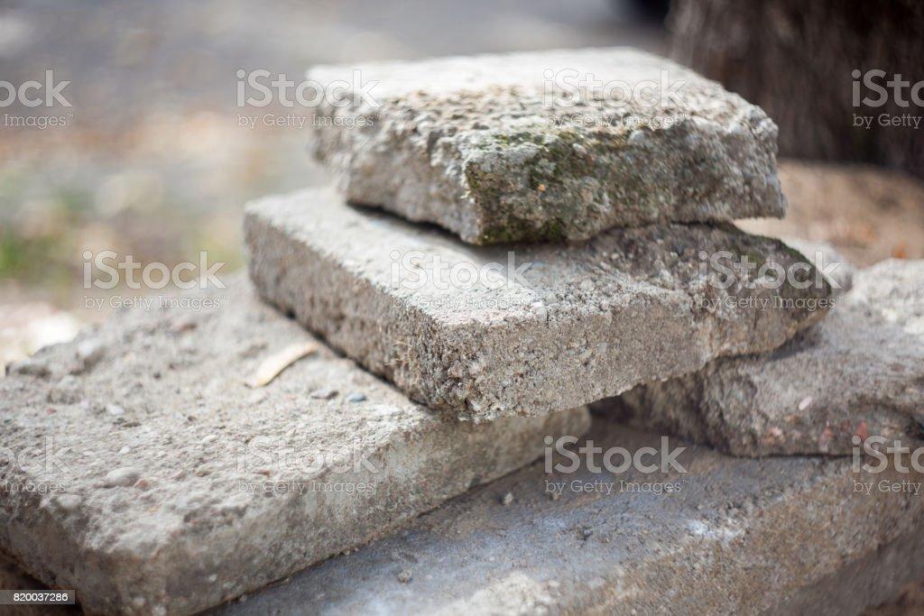 Old blocks of concrete stock photo