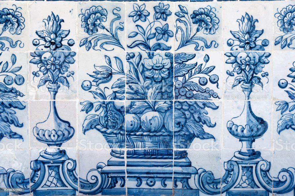 Old blue azulejo in Cascais stock photo