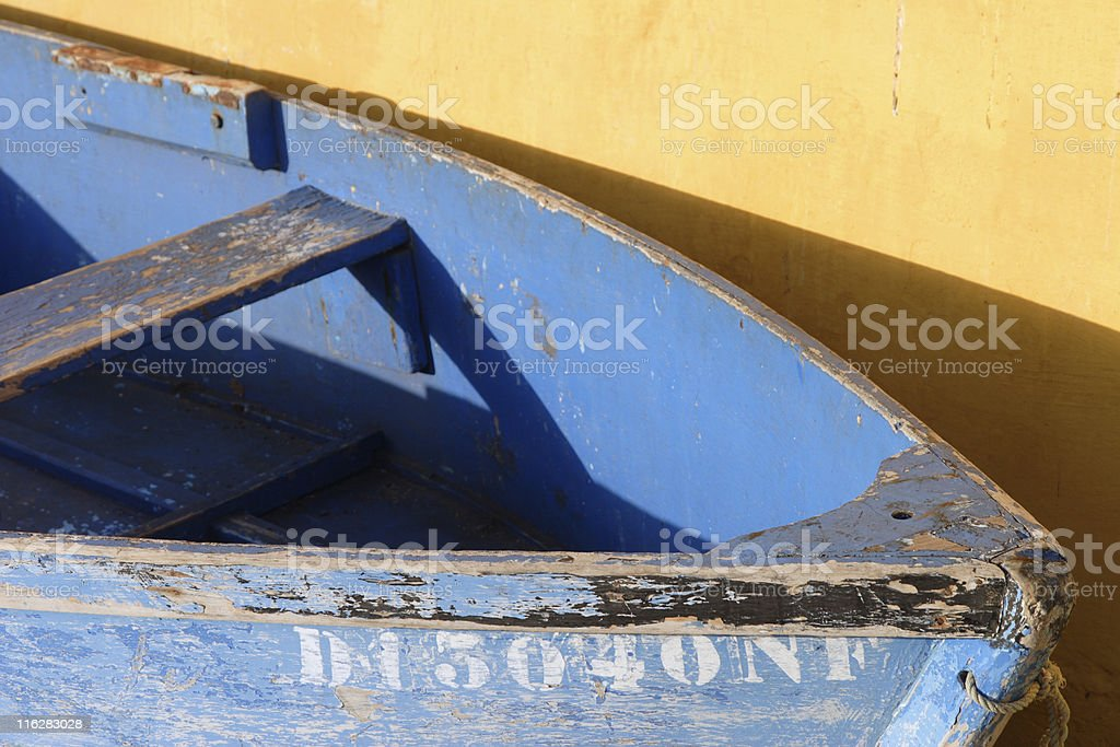 old blue boat royalty-free stock photo