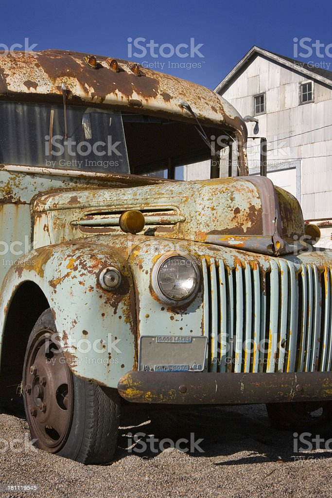 Old Blue Bus Quarter Front royalty-free stock photo