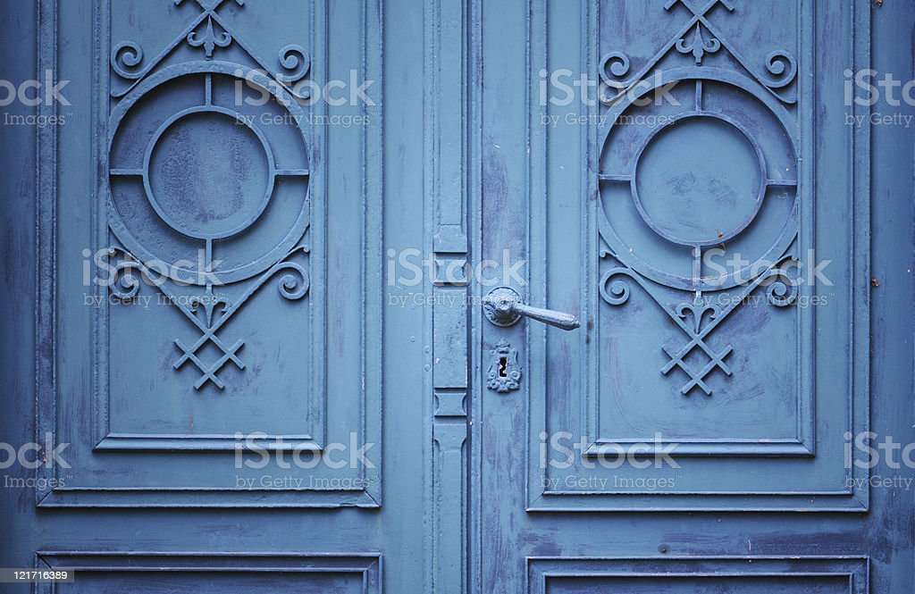 old blue doorway in Art Nouveau style royalty-free stock photo