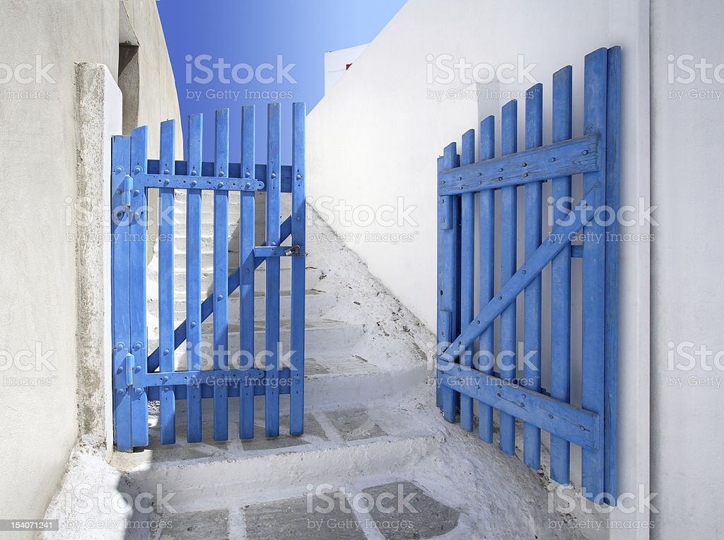 old blue gate royalty-free stock photo
