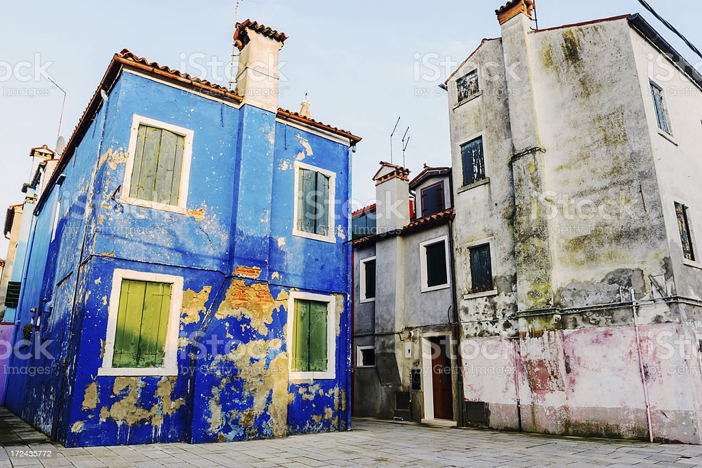 Old blue house on Burano, Venice royalty-free stock photo