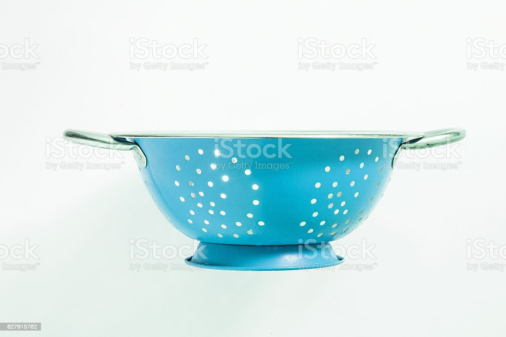 Old blue metal colander sieve isolated on white background stock photo