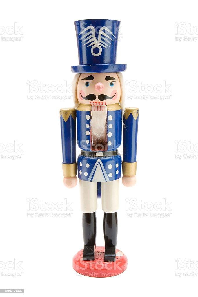 Old Blue Nutcracker Soldier stock photo