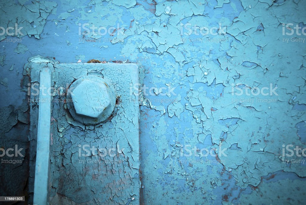 Old blue painted steel construction and bolt royalty-free stock photo