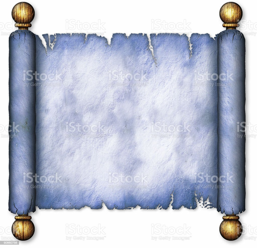 Old Blue Scroll on Wooden Spindles royalty-free stock photo