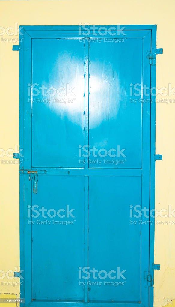 old blue steel door royalty-free stock photo