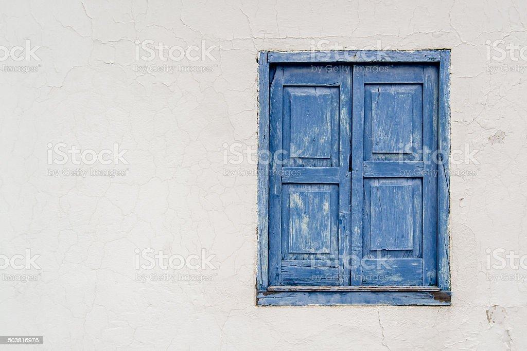 Old Blue Window stock photo