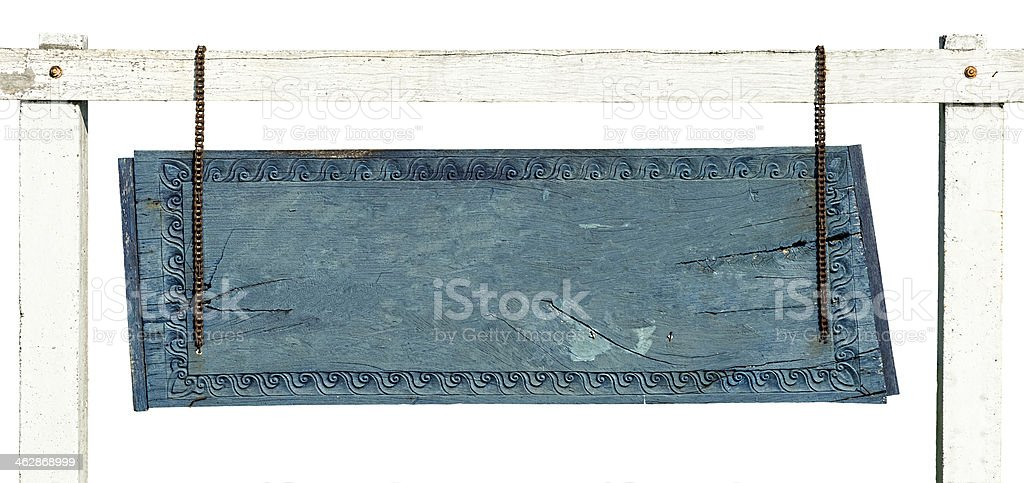 Old blue wood board sign. royalty-free stock photo