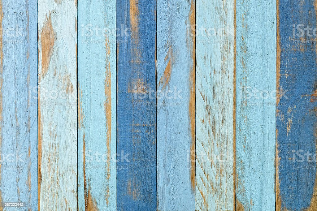 Old blue wooden board background. stock photo