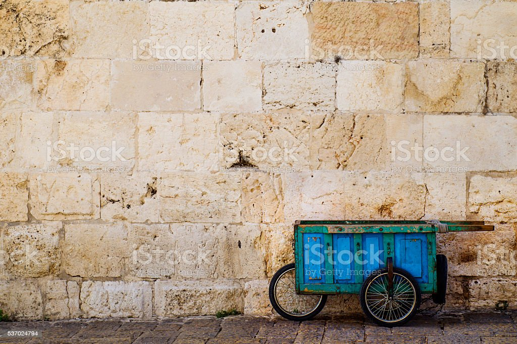 Old blue wooden cart. stock photo
