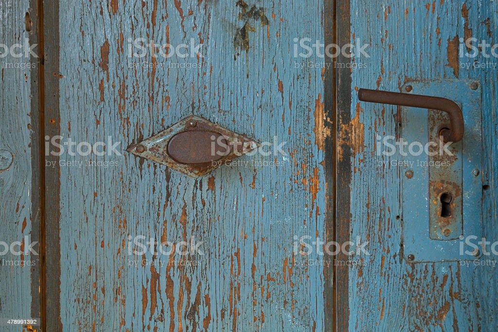 old blue wooden door stock photo