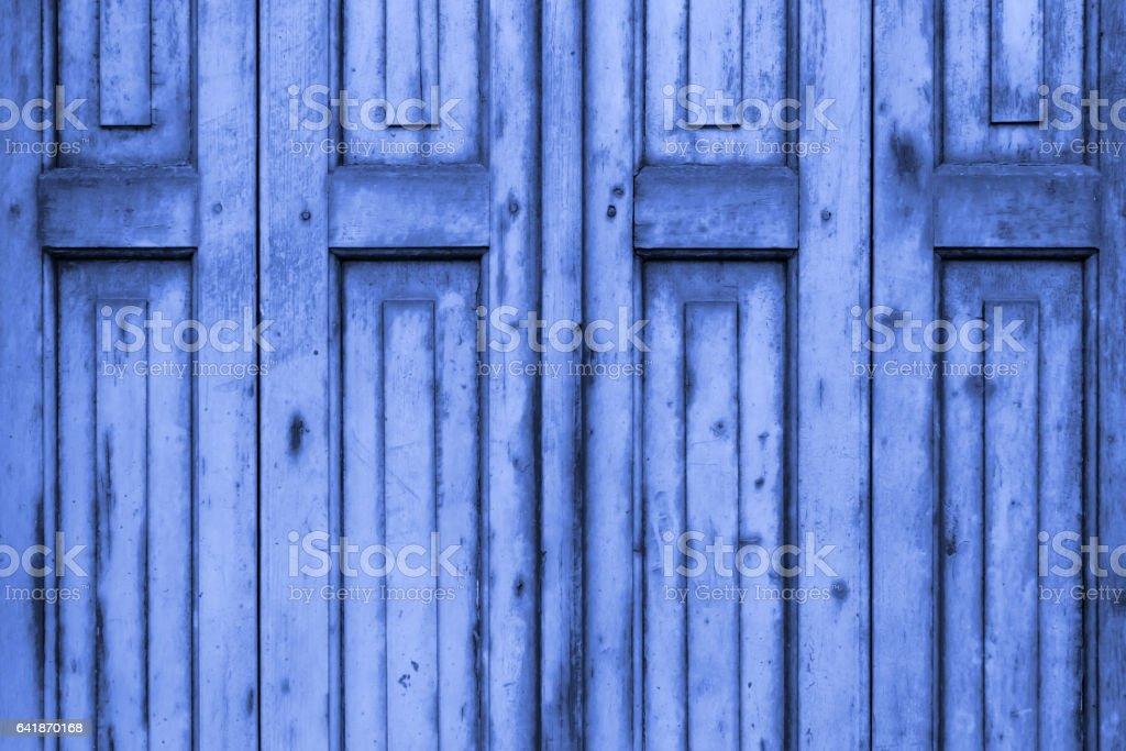 Old Blue Wooden Window Shutters stock photo