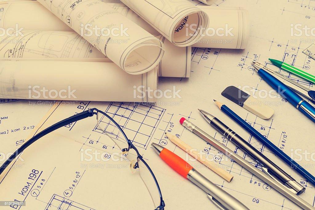 Old Blueprint Plans stock photo