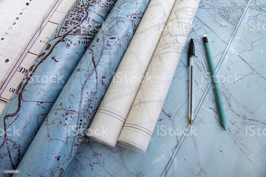 Old blueprints 01 stock photo