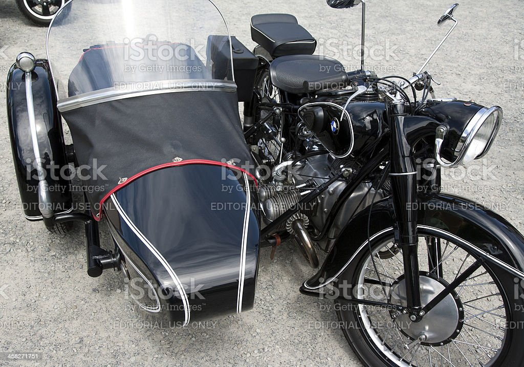 Old BMW motorcycle with sidecar royalty-free stock photo