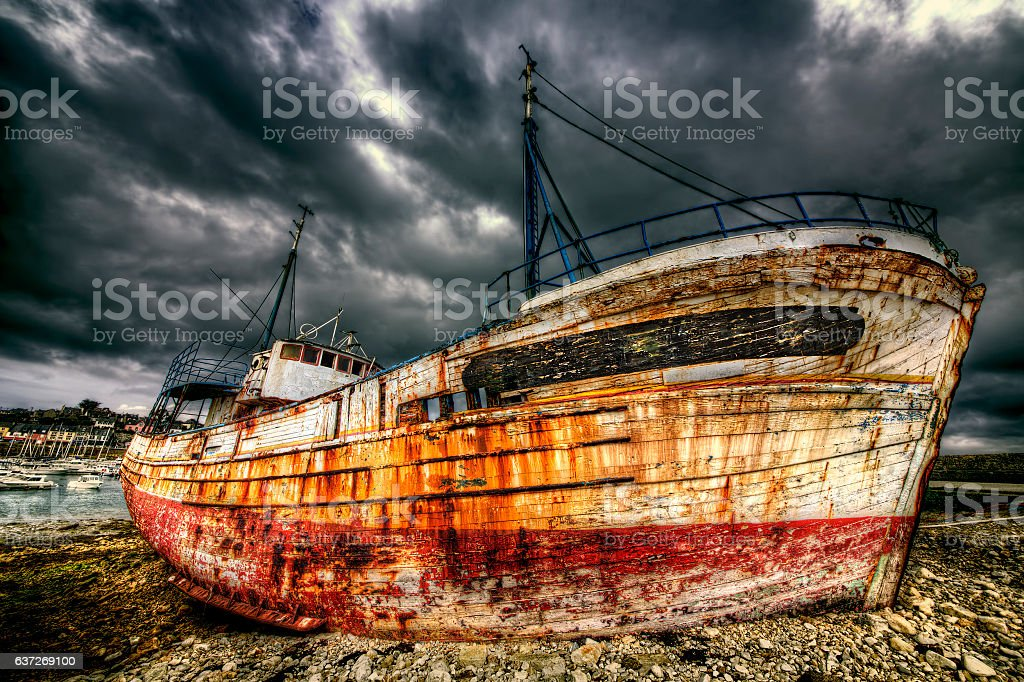 Old Boat at Camaret-sur-Mer, Brittany stock photo