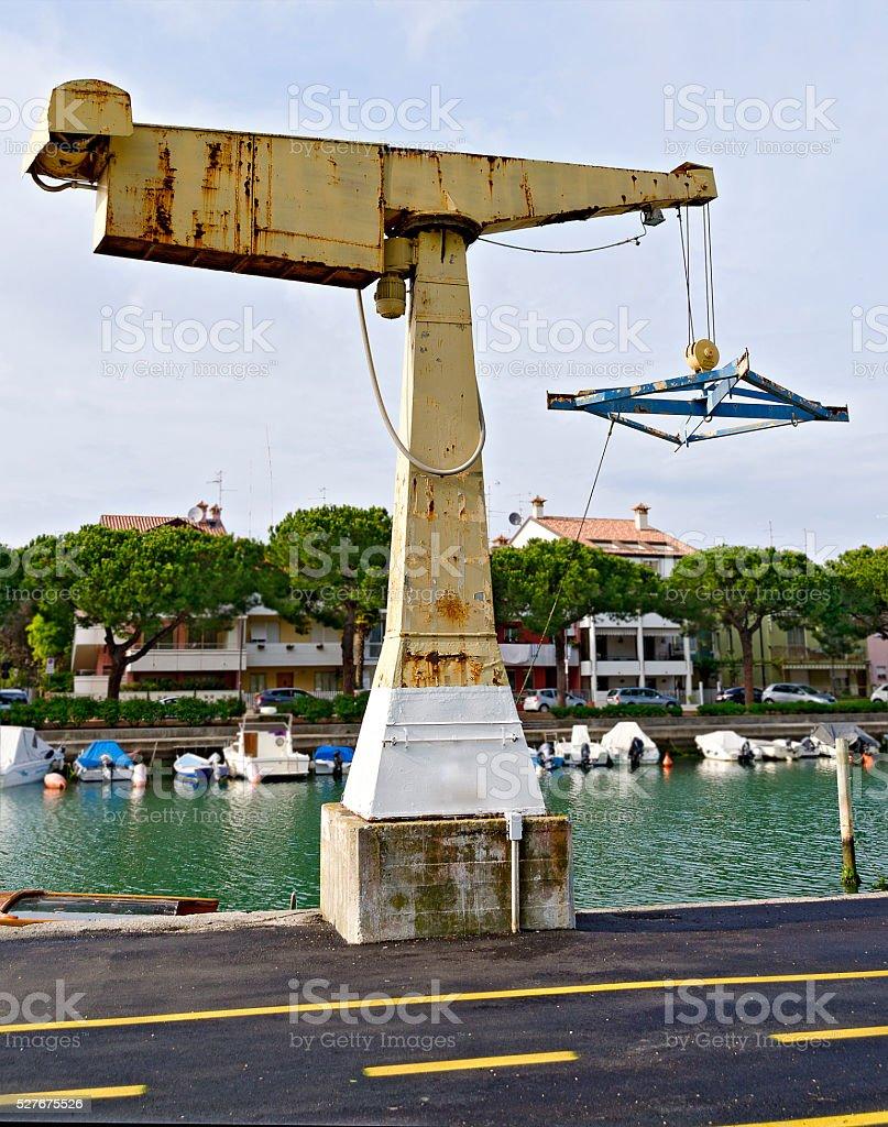 old boat davit stock photo