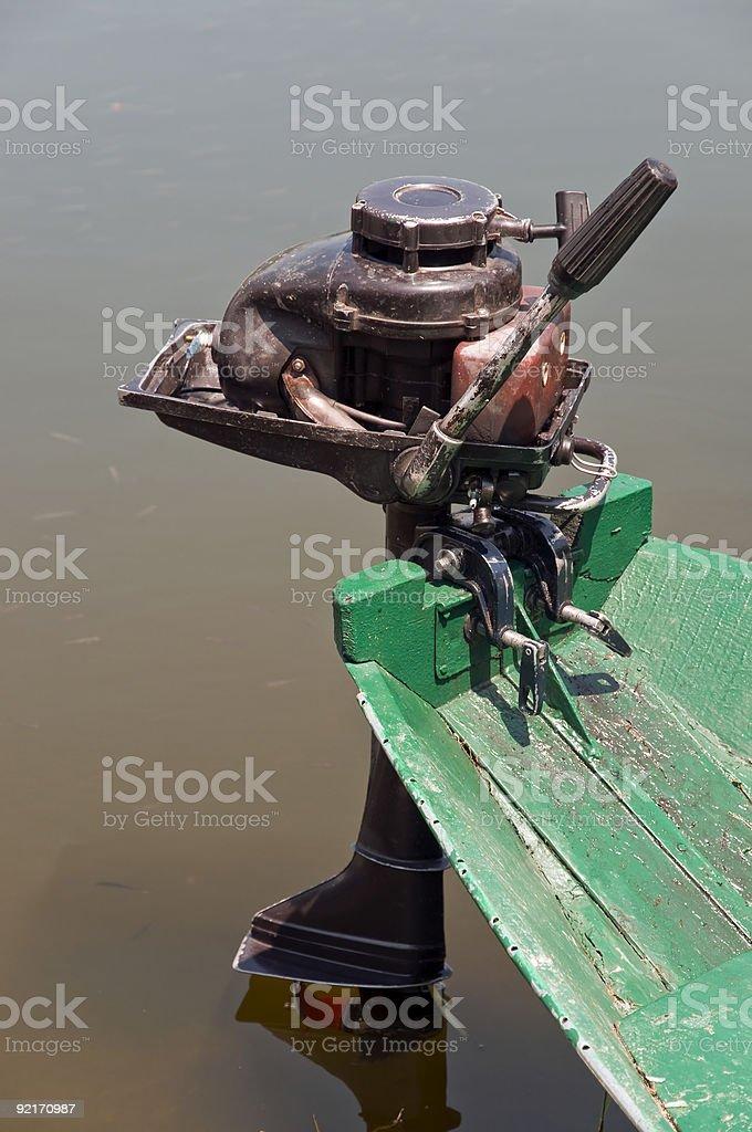 Old boat motor stock photo