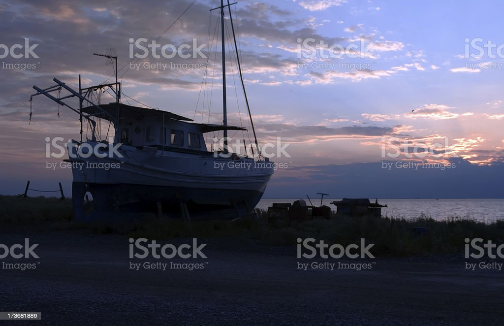 old boat mounted royalty-free stock photo