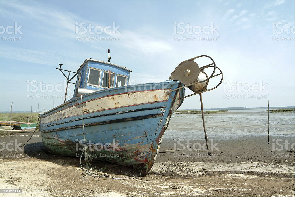 Old boat of fishes in port royalty-free stock photo
