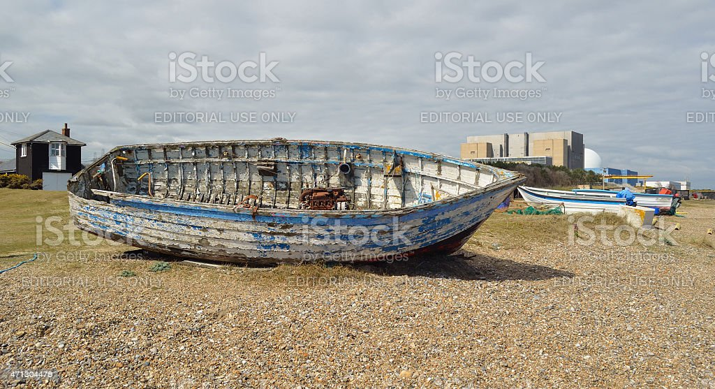 Old boat on Sizewell beach stock photo