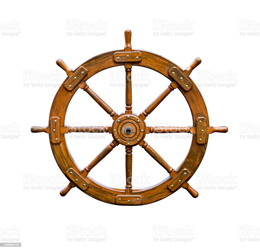 Old boat steering wheel isolated on white stock photo
