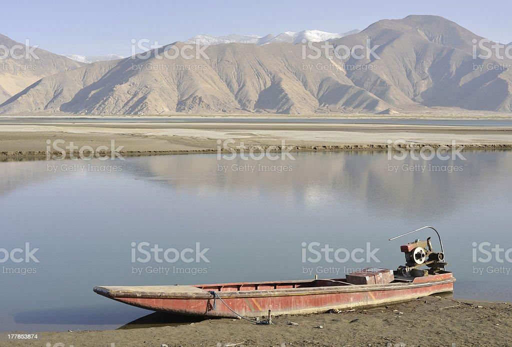 Old boat, Tibet stock photo